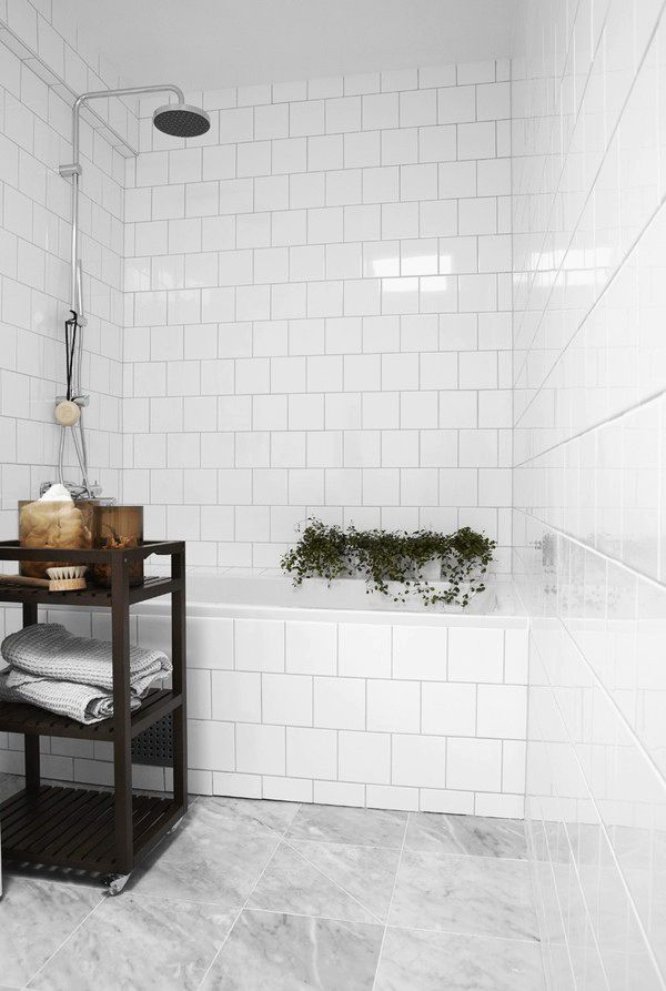 Subway standard tiles in white, marble floor. The Design Chaser: A Touch of Green