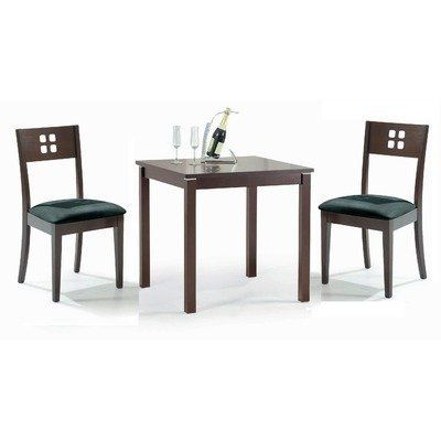 Cafe-211 3 Piece Uptown Corner Dining Table Set in Walnut by New Spec Inc. $294.34. 510026S Includes: -Set includes corner dining table and two side chairs. Construction: -Constructed of wood veneer, rubber wood and aluminium. Color/Finish: -Walnut finish. Assembly Instructions: -Assembly required. Warranty: -Manufacturer provides 3 months warranty.