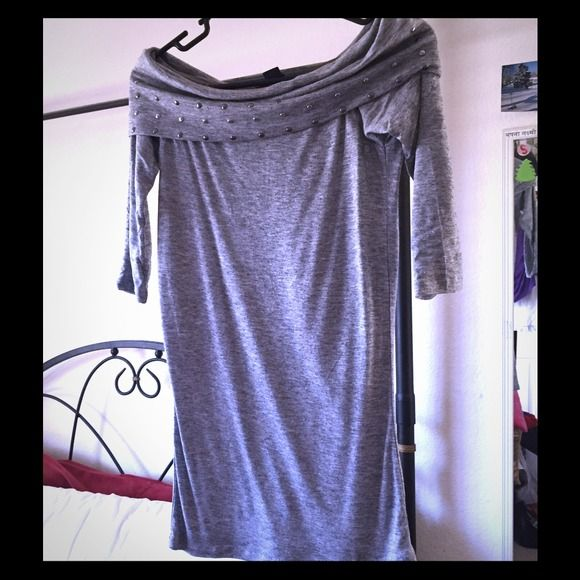 Gray off the shoulder 3/4sleeve AI top Brand new. Never worn. Would go great with leggings Armani Exchange Tops