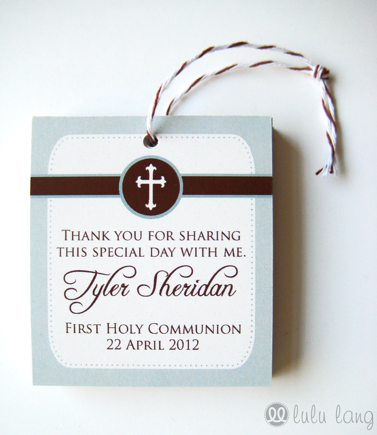 Simple First Communion, Baptism, Christening or Confirmation Favor Tag - Set of 12. $7.20, via Etsy.
