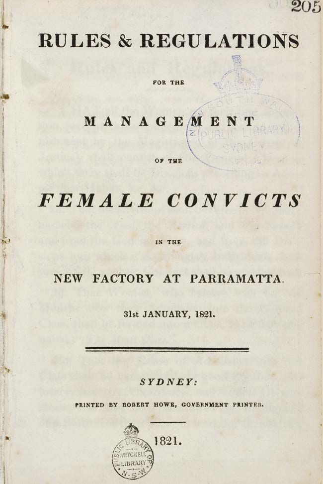A booklet titled: 'Rules and Regulations for the management of female convicts'. Includes the daily food rations for each convict.