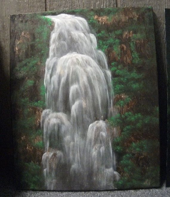 Jungle waterfall original landscape oil painting for Waterfall design etsy