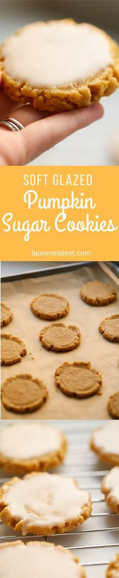 Soft Glazed Pumpkin Sugar Cookies--->Sugar Cookies just got better with a little pumpkin! This recipe creates soft, chewy, lightly spicy glazed pumpkin sugar cookies that are perfect for Fall!