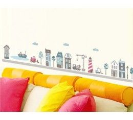 Cartoon city wall sticker available at www.kidzdecor.co.za. Free postage throughout South Africa