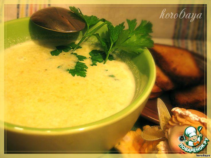 Сырный суп-пюре с брокколи, морковью, грибами