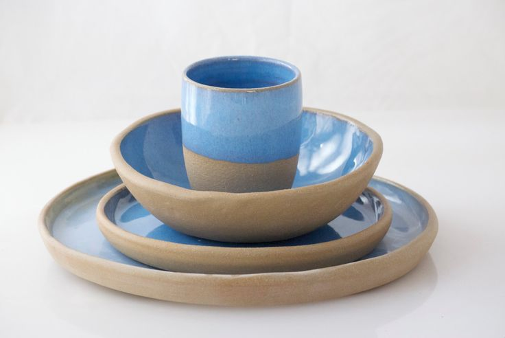 Ceramic Dinnerware set, Ceramic dinnerware, dinner plate set, wedding gift, Blue pottery by claylicious on Etsy