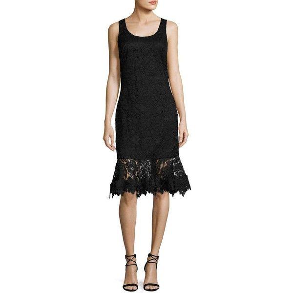 Sachin & Babi Attitude Sleeveless Lace Flounce Cocktail Dress (€370) found on Polyvore featuring women's fashion, dresses, black, transparent dress, lace dress, lace fit and flare dress, scalloped lace dress and lace fit-and-flare dresses