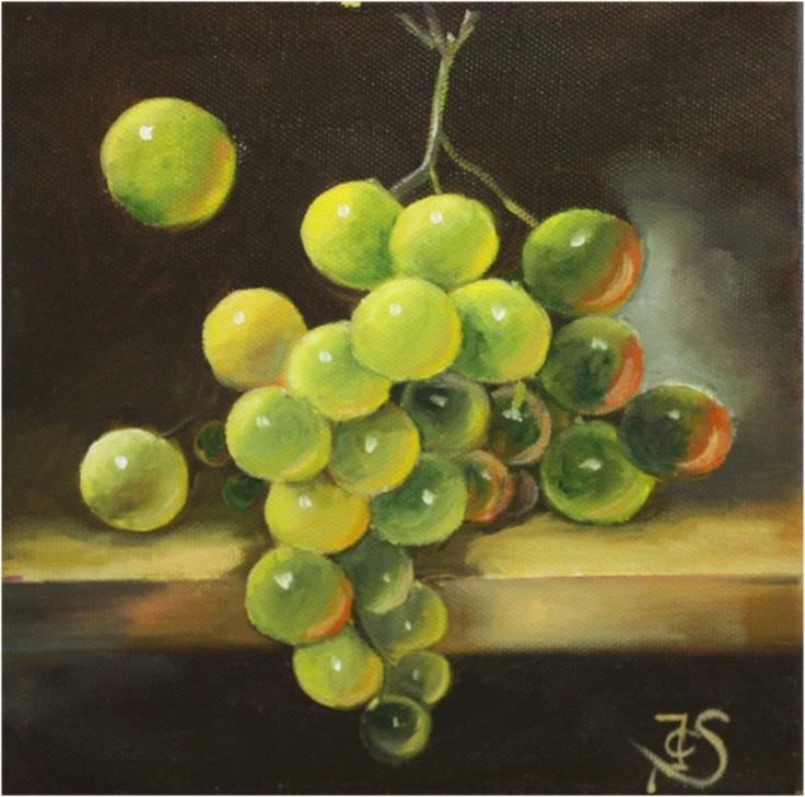 Stilleven met druiven. Olieverf op doek 20x20cm
