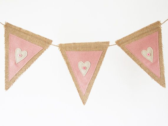 Burlap and linen bunting, burlap banner, rustic bunting, rustic banner,applique bunting, applique banner, - pink and cream hearts