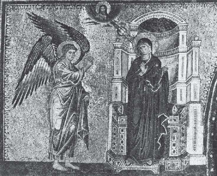 Fig. 1. Jacopo Torriti, La Anunciación, c. 1296. Basílica de Santa Maria Maggiore, Roma. Imagen tomada de Web Gallery of Art. Consultado el 30 de marzo de 2014. URL: w.wga.hu/ support/viewer/z.html
