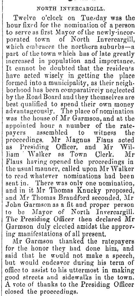 John Garmson was the first Mayor of North Invercargill in 1882