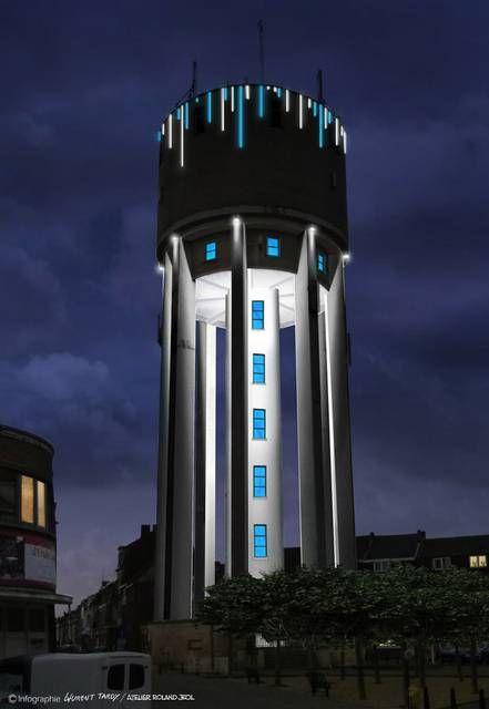 Zo zou de watertoren met de ledverlichting er in de toekomst moeten uit zien.-Repro RLA