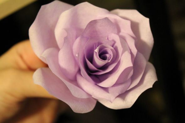Coffee Filter Flower  Pic heavy tutorial with tips :  wedding coffee filter flowers paper flowers pew decorations purple white bouquet ceremony flowers diy 4 Assembling Flowers 13 Attach And Tape Single Petals In Sets Of 3 4 Then 3 4
