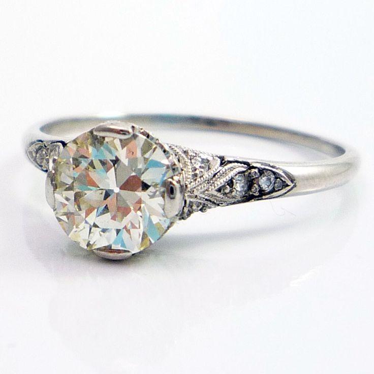 LOVE- VINTAGE AND DETAIL- Platinum Antique Edwardian European Cut Diamond Filigree Engagement Ring. $3,695.00, via Etsy.