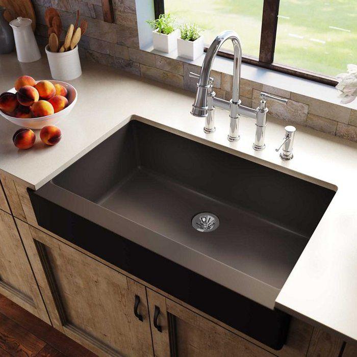 quartz luxe 36 l x 21 w farmhouse kitchen sink with perfect drain farmhouse sink kitchen on kitchen sink id=82331