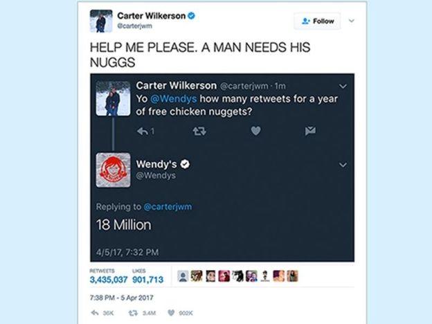 Tweet seorang lelaki minta nugget ayam percuma dari Wendys selama setahun cecah 3 juta retweet pecah rekod Ellen DeGeneres   PINTAAN seorang lelaki supaya diberikan nugget ayam percuma menarik 3 juta retweet memecahkan rekod yang sebelum ini dipegang oleh selebriti Hollywood Ellen DeGeneres.    Tweet seorang lelaki minta nugget ayam percuma dari Wendys selama setahun cecah 3 juta retweet pecah rekod Ellen DeGeneres    Menurut BBC Carter Wilkerson membuat permintaan mengarut berkenaan kepada…
