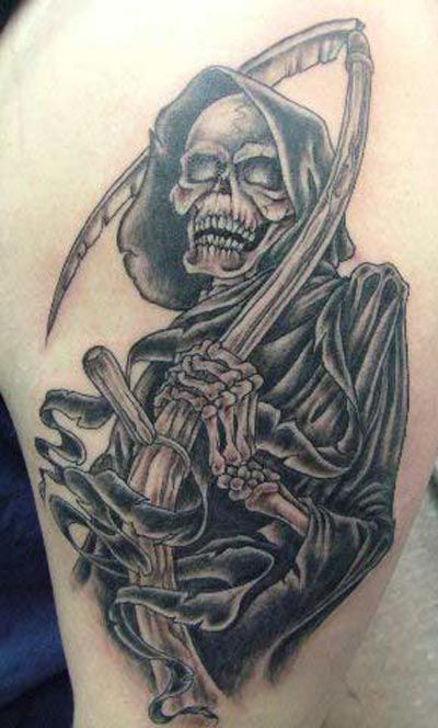 Grim Reaper Shoulder Tattoo For Men Pictures to pin on Pinterest