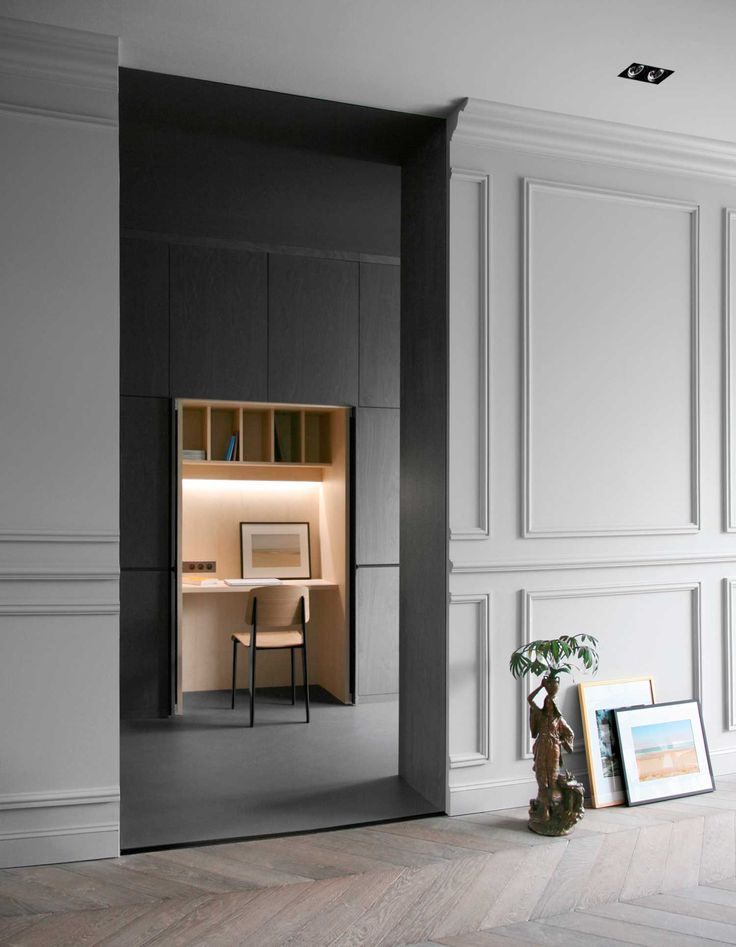 RUE DU JAPON by RMGB | Yellowtrace / Desk integrated into wall cabinet in kitchen / finished in natural birch veneer