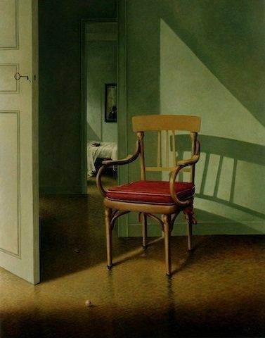 ◇ Artful Interiors ◇ paintings of beautiful rooms - Le fauteuil au coussin rouge   Anne Françoise Couloumy-2003