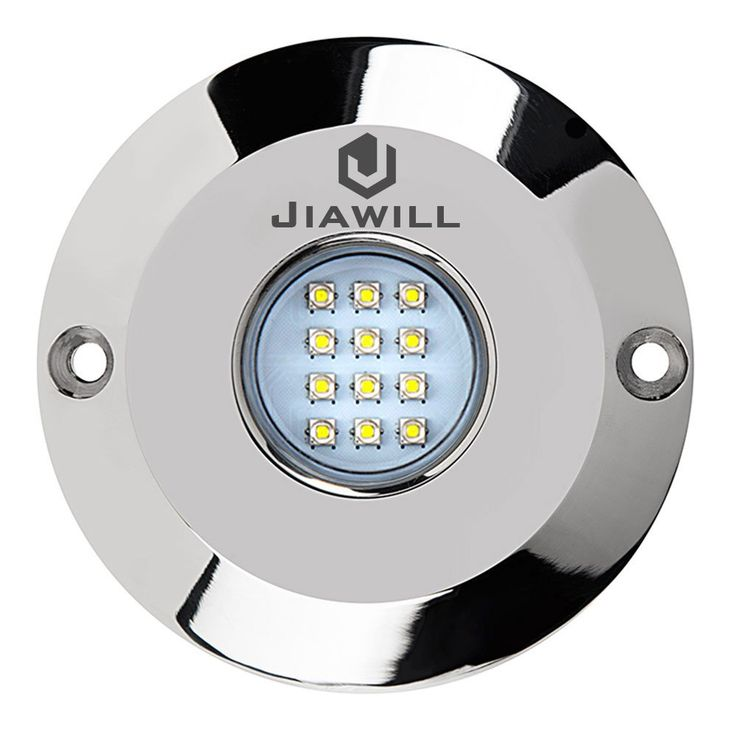 Jiawill Dual Color 60W CREE LED Surface Mount Underwater Boat Lights 316L Stainless Steel with Internal Driver and Overheat Protection (White and Blue output)