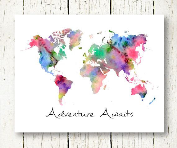 world map watercolor download, adventure awaits printable travel quote world map wall art world map colorful wall decor instant download jpg