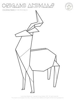 Origami deer coloring pages