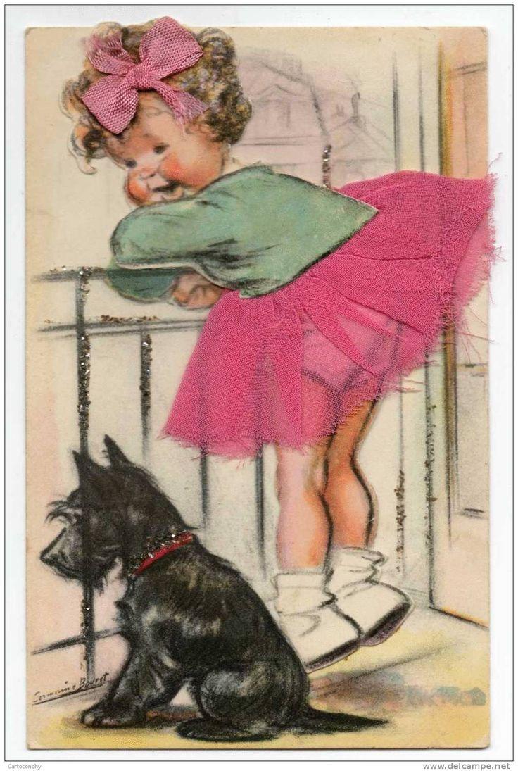 Rare Germaine Bouret - Carte avec Tissus, brillants et système découpis - Fillette avec son chien à la Balustrade - Delcampe.net