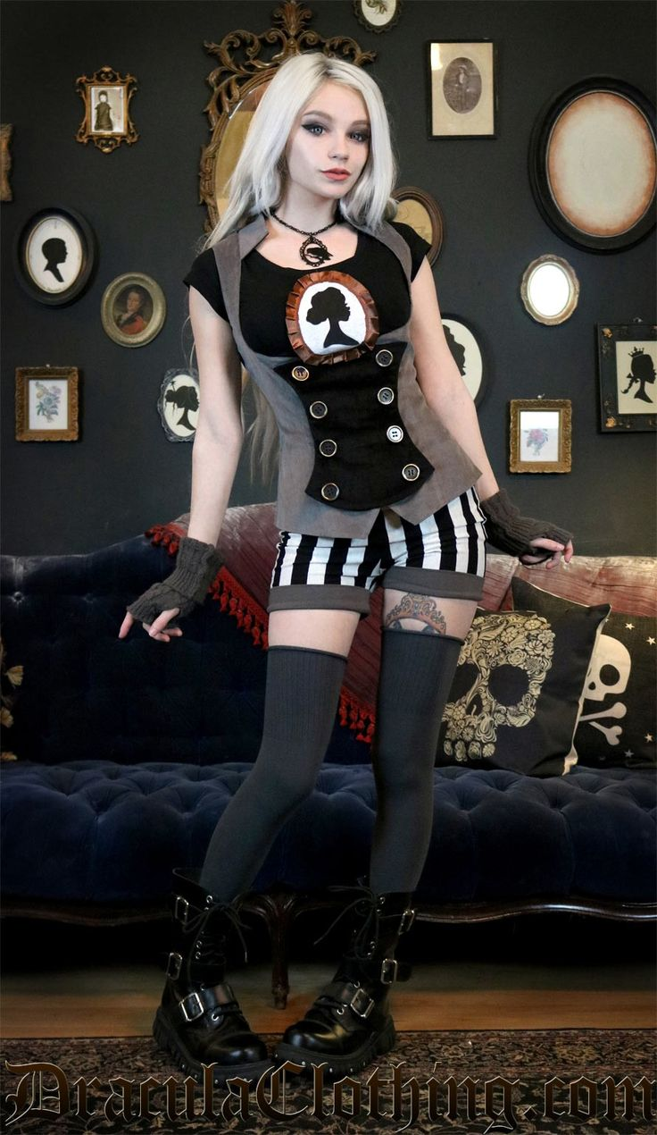 "<p>We have licensed this beautiful design from SteampunkCouture, combining the beauty of Kato and her designs with our professional tailors.</p><br /> <p>Rin is also wearing the <a href=""https://draculaclothing.com/striped-shorts.html"">Striped Shorts</a> and <a href=""https://draculaclothing.com/cameo-t-shirt.html"">Cameo T-Shirt</a>.</p><br /> <p>Fabric: slightly stretchy</p><br /> <p>Material: 98% cotton, 2% spandex</p><br /> <p>Scroll down for size chart.</p>"