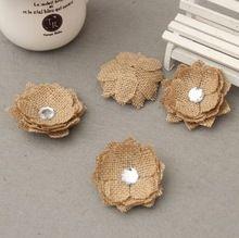 20 stks Hessische Jute Bloem Diamant Jute Rose Vintage Bruiloft Decoratie Party DIY Gift Verpakking Accessoires rustieke bruiloft decor(China (Mainland))