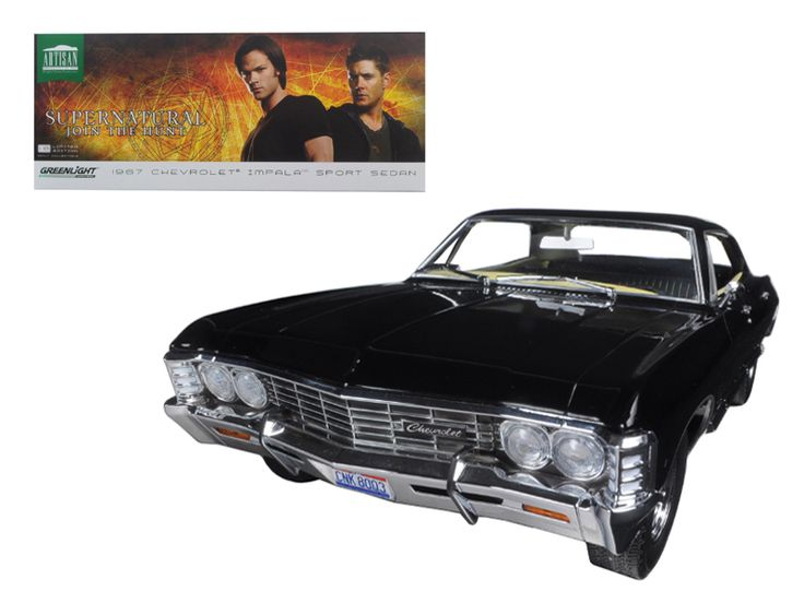 "1967 Chevrolet Impala Sport Sedan Black 4 Doors ""Supernatural"" (TV Series 2005 ) With Ohio License Plate 1/18 Diecast Model Car by Greenlight - Brand new 1:18 scale diecast car model of 1967 Chevrolet Impala Sport Sedan Black 4 Doors ""Supernatural"" (TV Series 2005 ) With Ohio License Plate die cast model car by Greenlight. Brand new box. Rubber tires. Detailed interior, exterior. Dimensions approximately L-10.5, W-4.5, H-3.55 inches.-Weight: 4. Height: 8. Width: 15. Box Weight: 4. Box Width…"