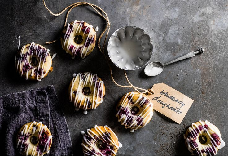 Blueberry donuts with lemon glaze