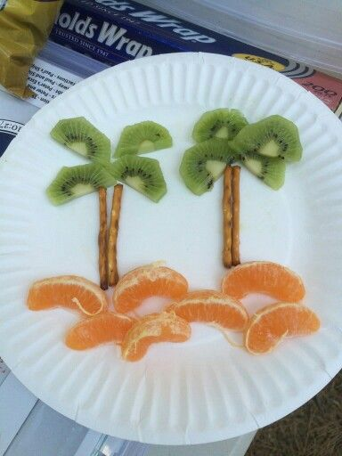 Kids healthy island or beach theme snack