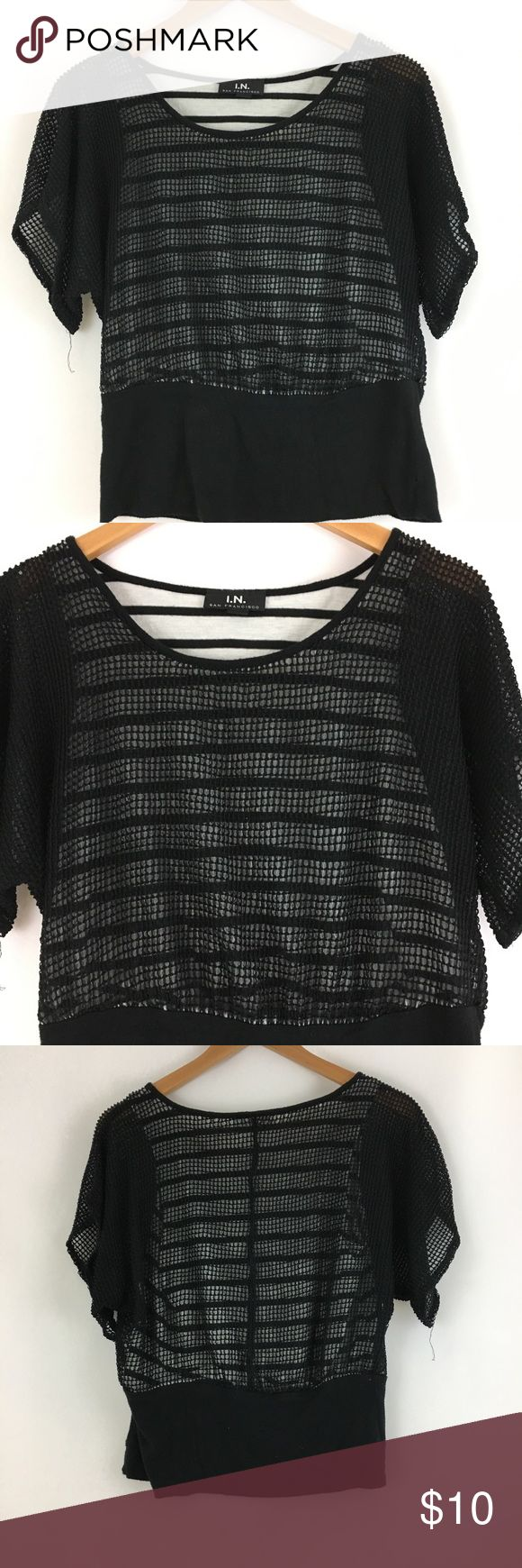 90s Black Mesh Batwing Striped Shirt Black and white stripe mesh batwing shirt. In great condition. Length 21 inches. Crochet lace 100% polyester. Tank 65% polyester 35% rayon. Tops