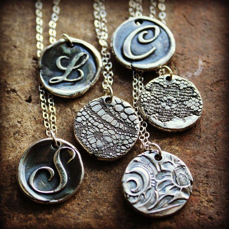 Wax Seal Monogram Necklace Reversible Lace Imprint