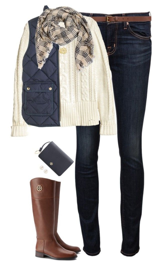 """Cream & Navy"" by steffiestaffie ❤ liked on Polyvore featuring J Brand, H&M, J.Crew, Tory Burch and Henri Bendel"