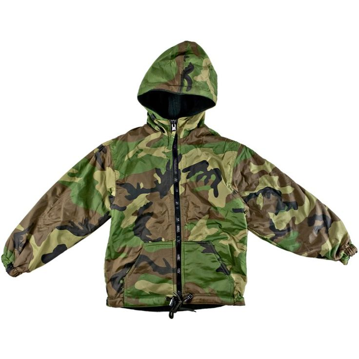 Kids Reversible Jacket with Hood - Woodland Camo - Kids-Army.com