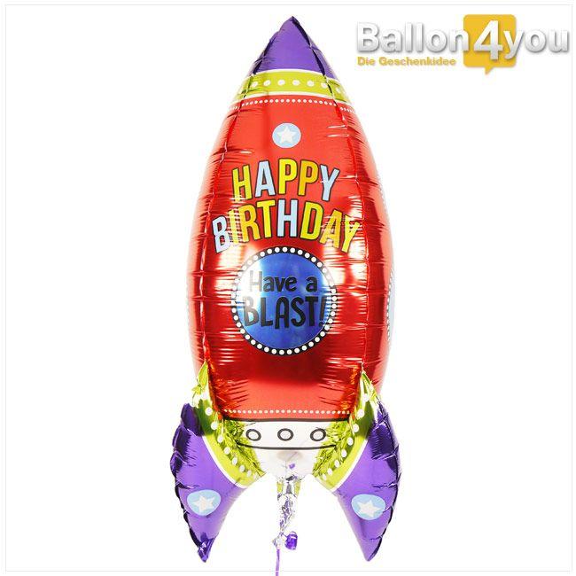 Raketenballon zum Kindergeburtstag  Hier steigt eine Rakete zu Ehren des Geburtstagskindes in die Luft. Das muss nicht unbedingt ein Kleinkind oder Jugendlicher sein, auch erwachsene Geburtstagskinder freuen sich über diesen Ballongruß. Und während die Rakete durch ihre Heliumfüllung aufsteigt, befindet sich an ihrem Ende eine bedruckte Grußkarte. Plus etwas Schokolade und auf Wunsch legen wir noch ein Plüschtier dazu.