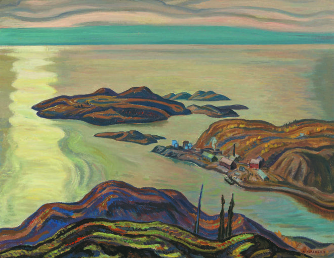 """An all-but-forgotten 1938 painting by A.Y. Jackson, depicting the Northwest Territories mine that produced uranium for the world's first atomic bomb. Jackson's """"Radium Mine"""" was exhibited only once, in 1939, and had remained in the private collection of the Gerald LaBine family, until being sold at auction in 2012. Lot 157 Jackson.jpg"""