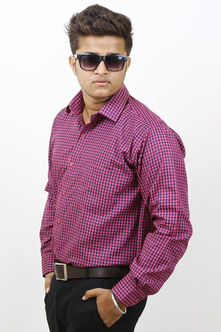 Buy Checks Pink and Blue Casual Silk Shirt For Men Online in India