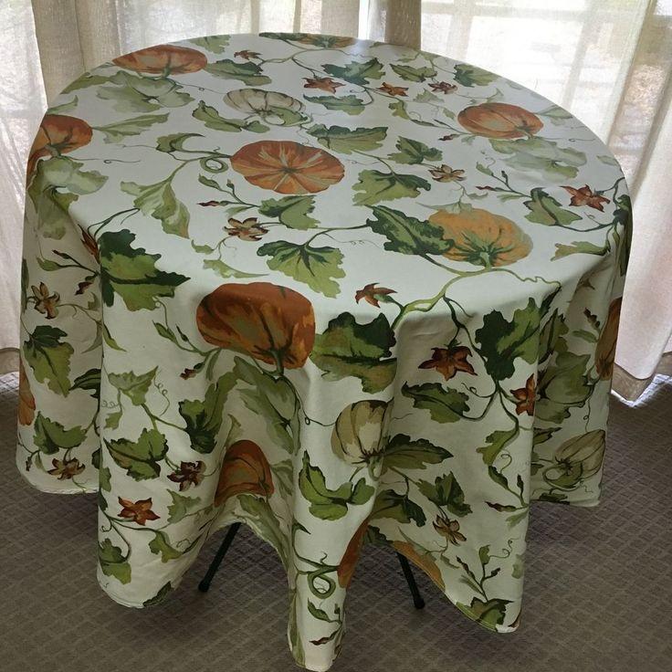 """Cynthia Rowley 100% Cotton Cream rust green Pumpkin Vine Tablecloth 70"""" Rd  NWT…"""