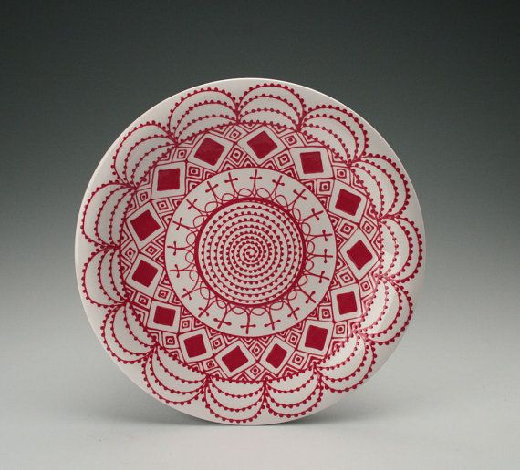 Red and White Dinner Plate 10 Hand Painted by owlcreekceramics