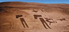 Geoglyphs Lluta, Arica Chile It is located 13 miles northeast of Arica. In the Valley of Lluta group these works in panels projecting anthropomorphic representations (man and man giant Lluta boy) with a singular stylistic pattern.  The figure type is up to 50 meters long, has formal features stylized, head in profile, body and limbs from the front. Associated figures of llamas, cats, monkeys, frogs, eagles and others. CATS