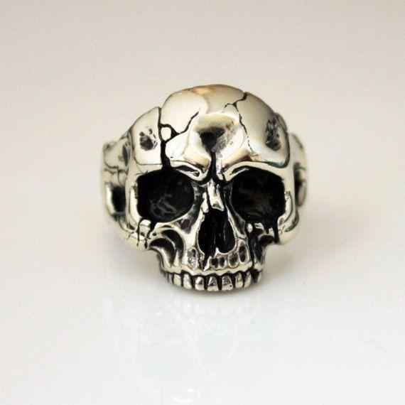 Bijoux bague bijoux bague bague tête de mort par Volderworkshop