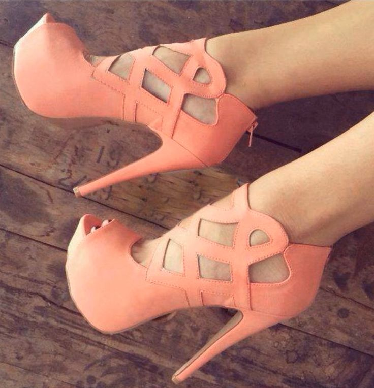 Coral cut out heels