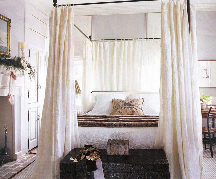 Furniture. Black Canopy Bed With White Bedding Set And Shabby White  Curtainsu2026