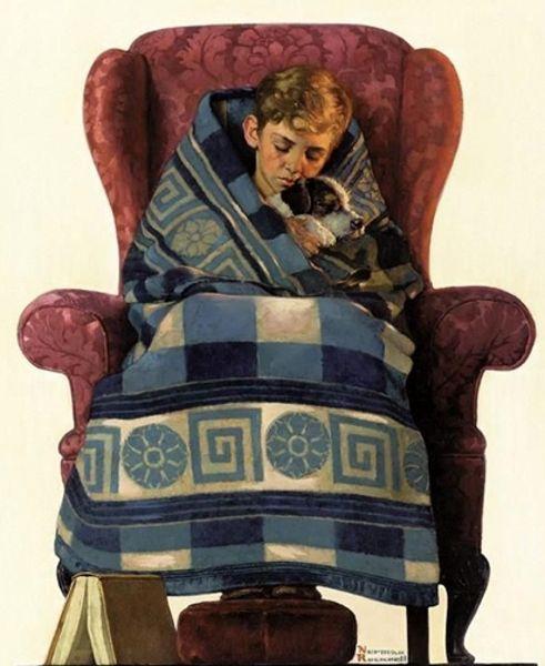 "ILLUSTRATOR: Norman Rockwell ~ ""Boy And Dog Snuggled In Blanket"""