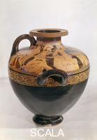 Arte greca Hydria attica con scene dell'incendio di Troia