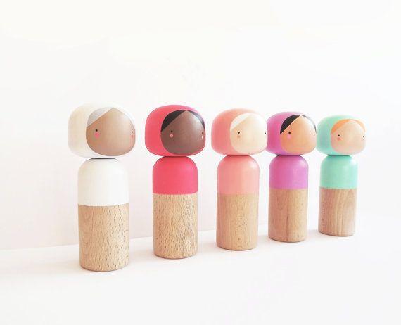Kokeshi Doll Coral Blush Pink Modern Custom by SketchInc on Etsy