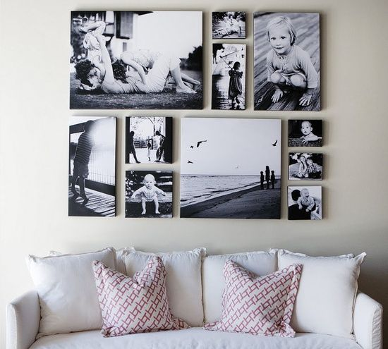 Wall Decor. Photo Display Ideas.  Picture wall @ Home Decor Ideas.