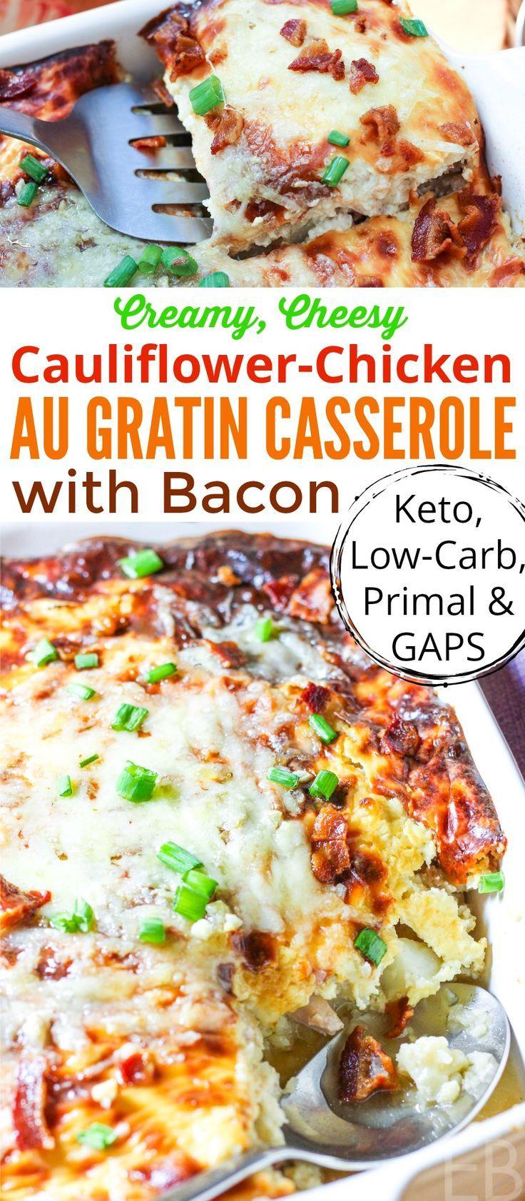 Cauliflower  Chicken Au Gratin Casserole With Bacon -9815